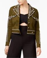 XOXO Juniors' Embroidered Cropped Jacket