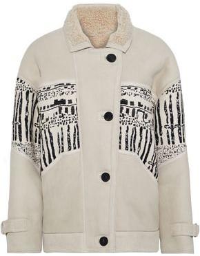 IRO Basil Tweed-paneled Shearling Coat