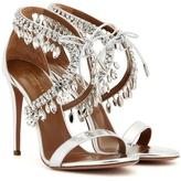 Aquazzura Milla Jewel 105 Embellished Metallic Leather Sandals