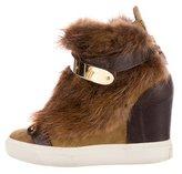 Giuseppe Zanotti Lorenz 75 Fur Wedge Sneakers