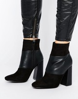 New Look Suedette Panelled Heeled Ankle Boots