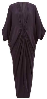 Thea - The Olympia Gathered Silk-satin Dress - Womens - Navy