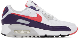 Nike White and Purple Air Max III Sneakers