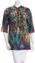 Figue Printed Sequined Top