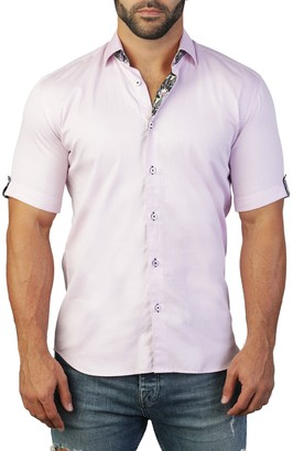 Maceoo Galileo Short Sleeve Print Tailored Fit Dress Shirt