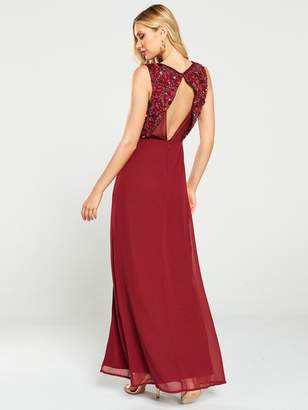 Little Mistress Embellished Wrap Maxi Dress - Berry