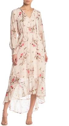 Bobeau Chiffon Tie Neck High/Low Maxi Dress