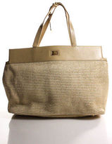 Elie Tahari Beige Leather Trim Woven Ribbed Large Tote Handbag