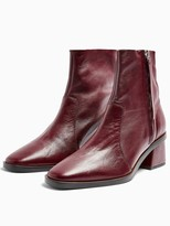 Topshop Margot Mid Boots - Burgundy