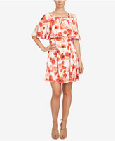 CeCe Poppy-Print Capelet Dress