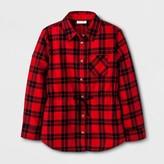 Cat & Jack Girls' Long Sleeve Casual Woven Button Down Shirt Red