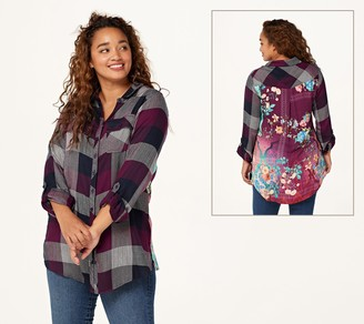 Tolani Collection Petite Plaid Tunic with Print Back
