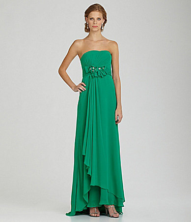JS Collections Strapless Chiffon Gown