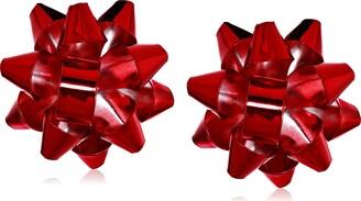 Betsey Johnson GBG) Women's Christmas Bow Clip-On Earrings