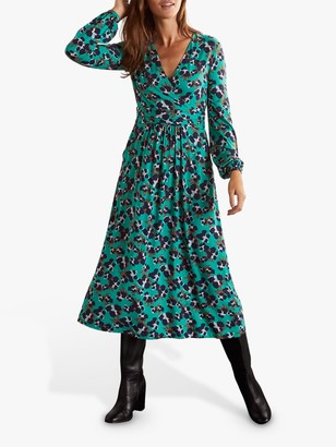 Boden Hayden Animal Print Wrap Midi Jersey Dress, Wild Meadow