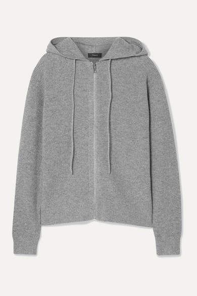 Theory Ribbed Cashmere Hoodie - Gray