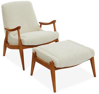 One Kings Lane Kayla Accent Chair & Ottoman Set - Ivory