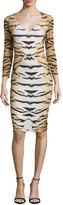 Roberto Cavalli Tiger-Print 3/4-Sleeve Gathered Sheath Dress