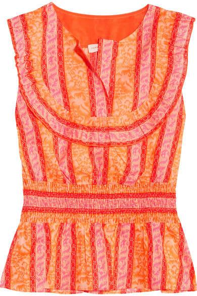 Tory Burch Sunwise Shirred Printed Cotton-poplin Top - Orange