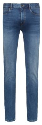 HUGO BOSS Skinny Fit Jeans In Blue Used Effect Jersey Denim - Blue