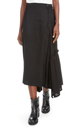 Y's by Yohji Yamamoto Asymmetrical Ruffle Midi Skirt