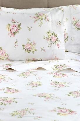 Melange Home Queen 400 Thread Count Cotton Rose Bouquet Sheet 4-Piece Set - White/Pink