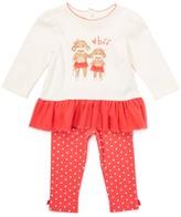 Baby Starters Ivory & Coral 'BFF' Monkey Ruffle-Hem Top & Leggings - Infant