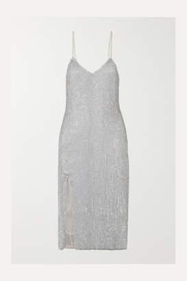 retrofete Denisa Sequined Tulle Midi Dress - Silver