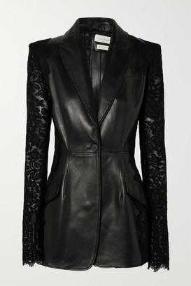 Alexander McQueen Lace-paneled Leather Blazer - Black