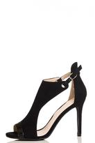 Quiz Black Faux Suede Cutout Shoe Boots