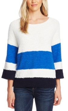 Vince Camuto Striped Elbow-Sleeve Teddy Bear Sweater