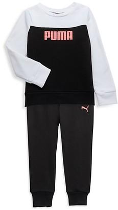 Puma Baby Girl's 2-Piece Logo Sweatshirt Joggers Set