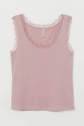 H&M Ribbed Tank Top with Lace - Pink
