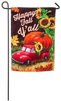 "Evergreen Sublimated Suede ""Happy Fall Y'all"" Pumpkin Truck Indoor / Outdoor Garden Flag"