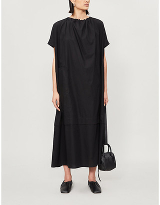 Selfridges Gathered round-neck cotton midi dress