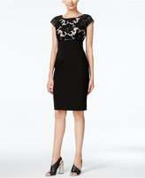 Calvin Klein Belted Lace Sheath Dress