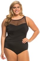 Longitude Plus Size Colorblock Mesh Highneck One Piece Swimsuit 8138673