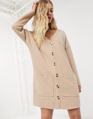 Asos Design DESIGN oversized super soft button through dress in camel-Beige