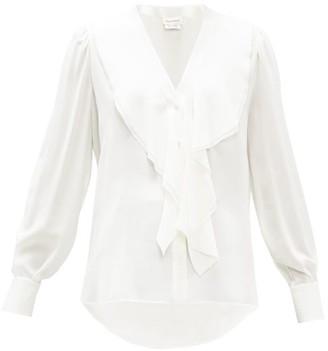 Alexander McQueen Ruffled Silk-georgette Blouse - Womens - White