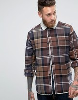 Asos Overshirt With Check & Borg Lining In Light Brown