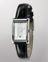 new york Rectangle-Dial Black Leather Watch