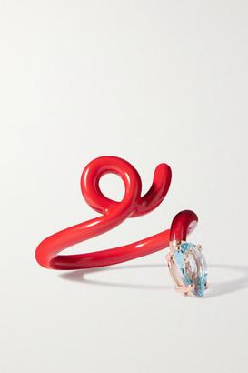 BEA BONGIASCA Baby Vine Tendril Enamel, Rose Gold And Topaz Ring
