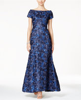 B Michael Sequined Rosette Off-The-Shoulder Gown