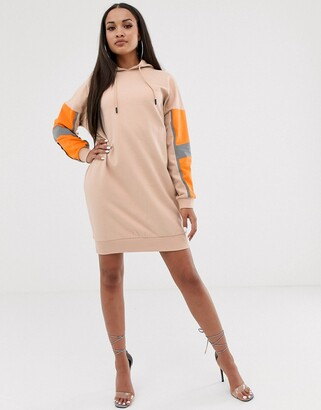 Asos Design DESIGN hoodie sweat dress with reflective panelling-Beige