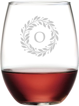 Susquehanna Glass Monogrammed Stemless Glasses with Sand Etched Berry Wreath Letter Set of 4 O 15 oz