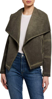 Bagatelle Faux Suede Draped Jacket