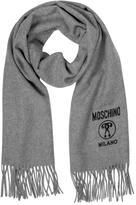 Moschino Solid Wool Logo Long Scarf w/Fringe