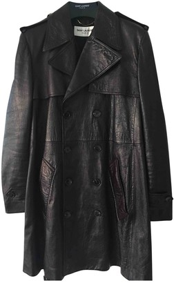 Saint Laurent Brown Leather Trench coats