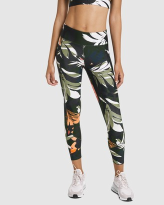 Rockwear - Women's Multi Tights - Autumn Haze Print Panel Ankle Grazer Tights - Size One Size, 18 at The Iconic