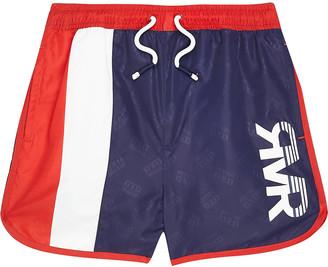 River Island Boys navy blocked RVR swim shorts